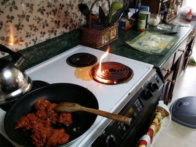 It's not real cooking without a fire! Turned off burner and let it burn out.